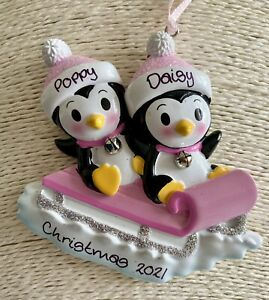 Personalised Sibling Twins Penguin Sled First Christmas Tree Decoration Girl