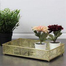 Rectangle Gold Metal Lattice Edge Mirror Jewellery Perfume Candle Display Tray