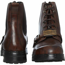 Dolce /& Gabbana Men/'s Black Leather Military Boots Shoes Sz 6 7 9 10