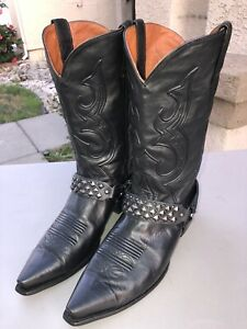Dan Post Mens 11 Bexar Boots Black Leather Harness Stud Rocker Style Distressed
