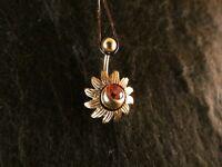 Bauchnabel Piercing Blume 24 Karat Vergoldet Gold Rosè Sonnenblume Blüte Sun