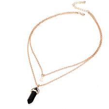 Fashion Crystal Opals Natural Stone Pendant Necklace Double Layer Choker Jewelry