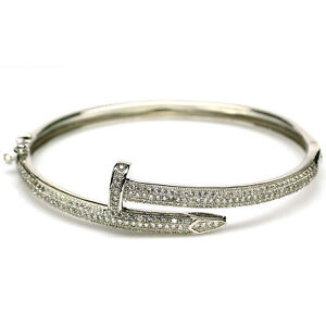 """AAA WHITE CUBIC ZIRCONIA BANGLE CROSS 2"""" X 2.25"""" 925 STERLING SILVER"""