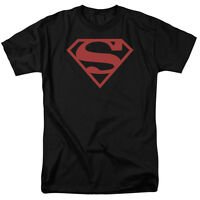 Superman Red On Black Shield Logo DC Comics Officially Licensed Adult T-Shirt