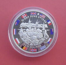 Gibraltar 2004 The D-Day Allies 10 Pounds 5oz Silver Proof Coin