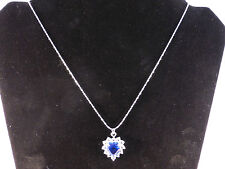 Austrian Crystals 18K White Gold Plated Deep Blue Heart Necklace + Free Gift Bag