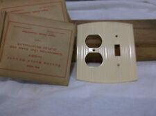 Curved Ivory Bakelite double switch Combo Vintage Switchplate Art Deco two gang