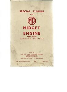 SPECIAL TUNING for MG MIDGET ENGINE TYPE XPAG AS FITTED TO SERIES TB&TC CARS