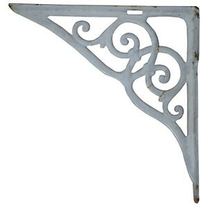 "Antique Cast Iron White Enamel Architectural Shelf Bracket Support Salvage 15"""