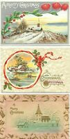 (3) Antique Post Card c. 1911 1918 1919 Christmas Greetings XMAS Church