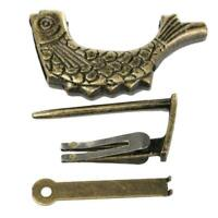 Vintage Chinese Padlock Antique Old Style Retro Brass Key Box Jewelry Lock R6L3