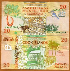 Cook Islands, $20, 1992, AAA prefix, P-9, UNC