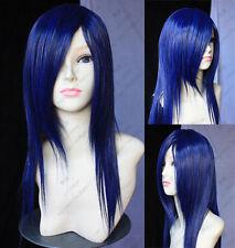 fashion long straight black blue hair Cosplay wig +WeavIng cap  AE149
