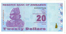 ZIMBABWE: 4 PIECE 2009 AU-UNCIRCULATED BANKNOTE SET, $1-20, P#s 92-95