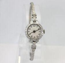 """Antique Art Deco platinum diamond watch estate ladies 1.12C 18.2MM 6 1/2"""" 16.4GM"""