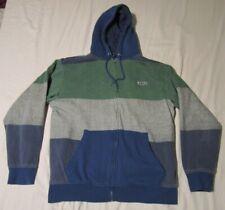Mens Volcom Blue Sherpa Lined Hoodie Sweatshirt Zip Striped Green Gray Blue XL