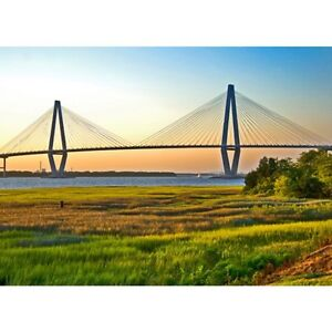 Arthur Ravenel Bridge Photo Art Images Colors of Charleston South Carolina Metal