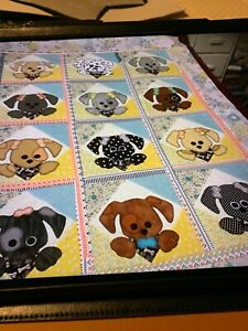 """Quilt Top-Scrappy Puppy-Approx. 43""""/54"""""""
