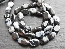 "SOLDES 2 x FLOCON DE NEIGE OBSIDIENNE OVALES, environ 6x8mm 14"" brin, 40 perles"
