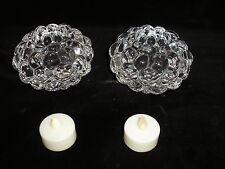 Two Orrefors Crystal Raspberry Votive Candleholders with Electric Candles