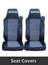 2 x IVECO STRALIS Coprisedili Fatti su misura HGV Camion Furgone Nero/Grigio LHD