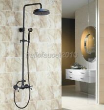 Oil Rubbed Brass Wall Mounted Rain Shower Faucet Set W/ Hand Spray Tap lrs496