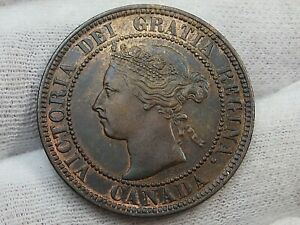 AU/UNC Red Brown 1900 Large Cent CANADA.  #4
