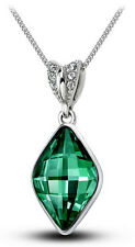 elegant & Stilvoll Silber Smaragd Grün Karree Kristall Anhänger Halskette N268