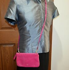 Fossil Piper Mini Crossbody Shoulder Bag Clutch Pink Leather Purse Convertible