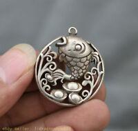 3CM Vieille Chine Miao Argent évider Pendentif Amulette Poisson Carpe Yuanbao