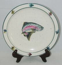 Folkcraft RAINBOW TROUT by Scotty Z Stoneware Fish & Lures SALAD PLATE