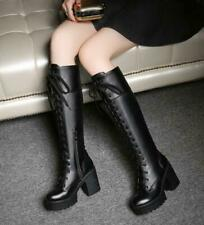 Womens Knee High Military Chunky Block Heels Round Toe Goth Lace Up Riding Boots