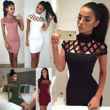 Womens Hollow Choker Summer Bodycon Stretch Party Cocktail Clubwear Short Dress