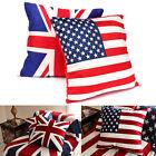 16'' US UK National Flag Pillow Case Cushion Cover Bag Home Sofa Bed Xmas Decor