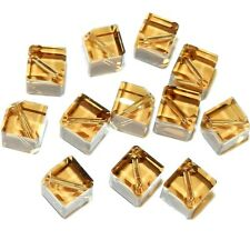 SCEA147 Light Colorado Topaz 8mm Square Dice Swarovski Crystal Beads 12pc