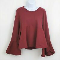 ANTHROPOLOGIE sz Medium GUEST EDITOR Red Bell Sleeve Peplum Top Blouse Shirt