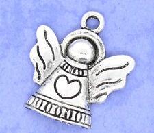 Lot 10 breloques métal argenté ANGE COEUR noël création bijou FIMO pendentif