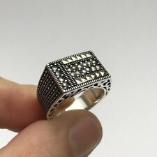 Turkish Ottoman Jewelry Touch Marcasite 5 925K Sterling Silver Men's Ring