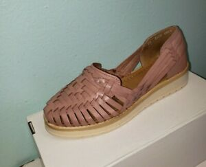 Womens Modern Mexican Huaraches Sandals 100% Leather Closed Toe Braid Blush Sz 5