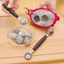 Stainless Steal Double Ended Melon Ball Scoop Fruit Spoon Ice Cream Scooper New