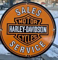 VINTAGE HARLEY DAVIDSON GASOLINE PORCELAIN GAS OIL SERVICE PARTS SIGN AD