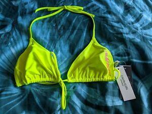 Calvin Klein Bikini Top Size L Triangle Swimwear Safety Yellow Pink CK RRP £40
