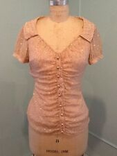 Moschino Cheap & Chic Pink Button Down Shirt With Gold Fleck Short Sleeve Size 8