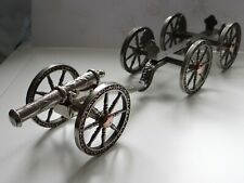 More details for vintage silver plated artillery canon  and gun carriage