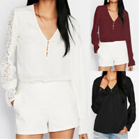 AU 8-26 Women Lace Long Sleeve Loose Blouse Tee Top Office Work Button Up Shirt