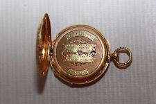 Montre à gousset en or Longchamp Genève Décor floral et homme en barque