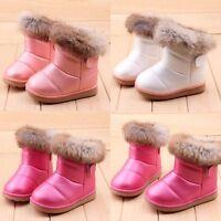 2018 Winter Girl Kids Toddler Rabbit Fur Leather AntiSlip Shoes Warm Snow   #