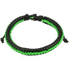 Black Leather Adjustable Bracelet w/ Choose Color Center Weave Stripe Fits Most