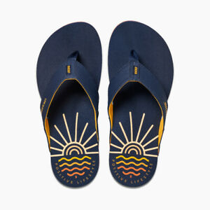 Reef Men's Newport + LIG Flip Flops Sandals - Sunrise Navy NWT