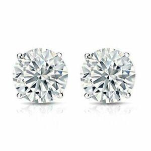 2CT Charles & Colvard 14K White Gold Moissanite Stud Earrings Certified F.B.